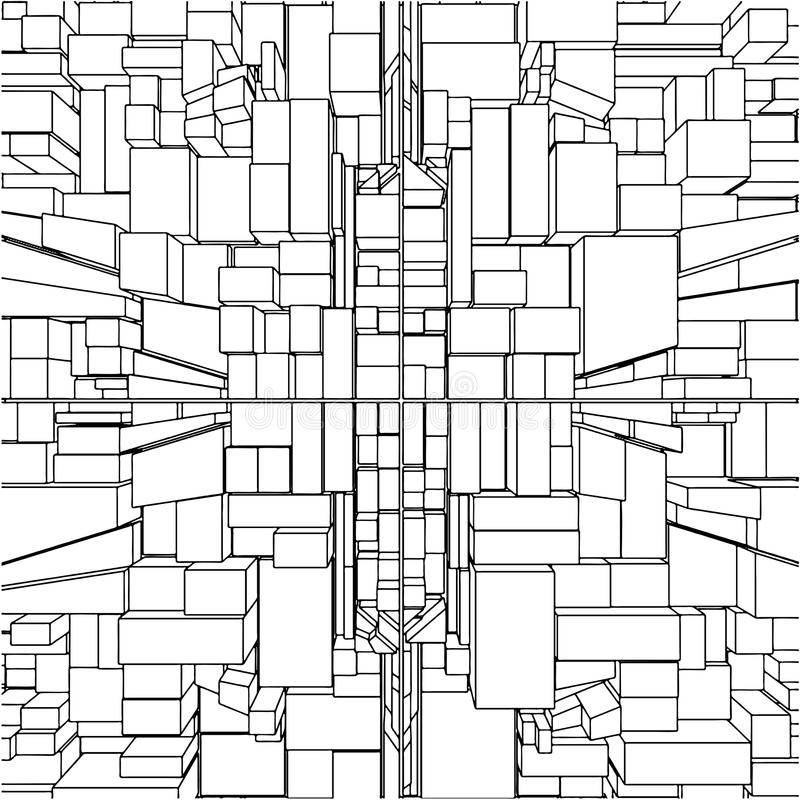 Abstract Urban City Boxes From Cube Vector 30 vector illustration