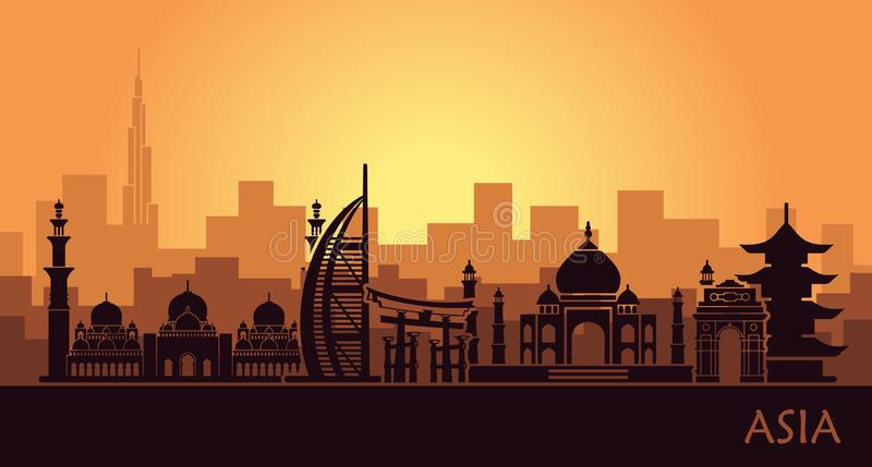 Abstract urban landscape with landmarks of Asia royalty free illustration