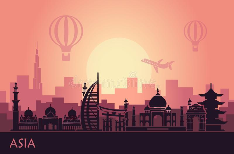 Abstract urban landscape with landmarks of Asia vector illustration