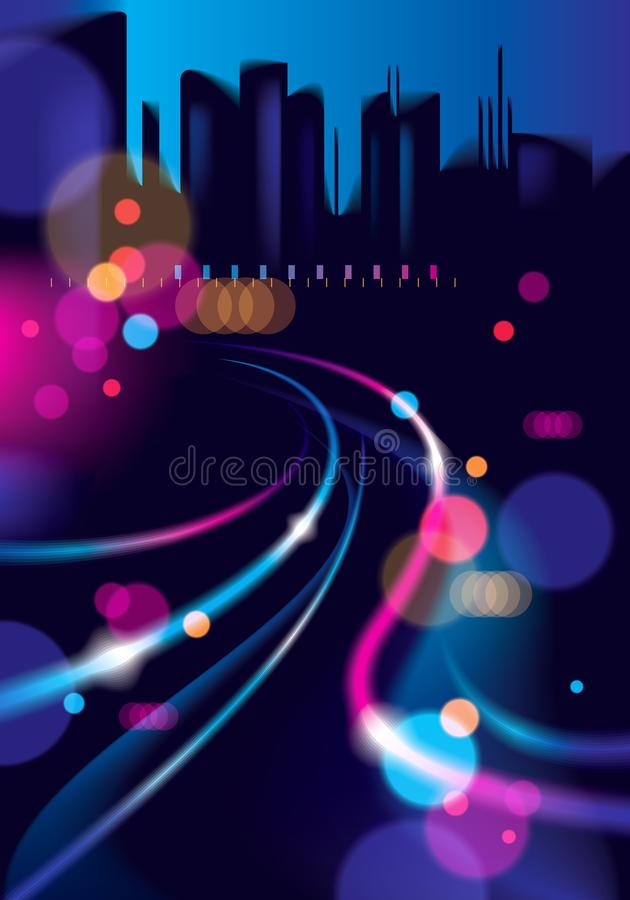 Abstract urban night light bokeh defocused background. Effect vector beautiful background. Blur colorful dark background with cit. Yscape, buildings silhouettes vector illustration