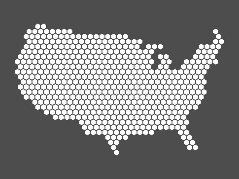 Abstract USA map of hexagons. Abstract vector map of United States of America, aka USA. Simple flat mosaic map of white hexagons on dark grey background in a vector illustration
