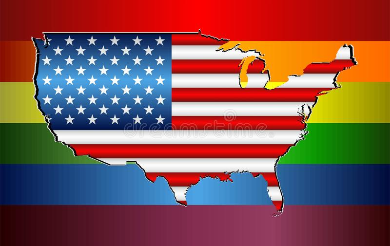 Abstract USA map and rainbow flag royalty free illustration