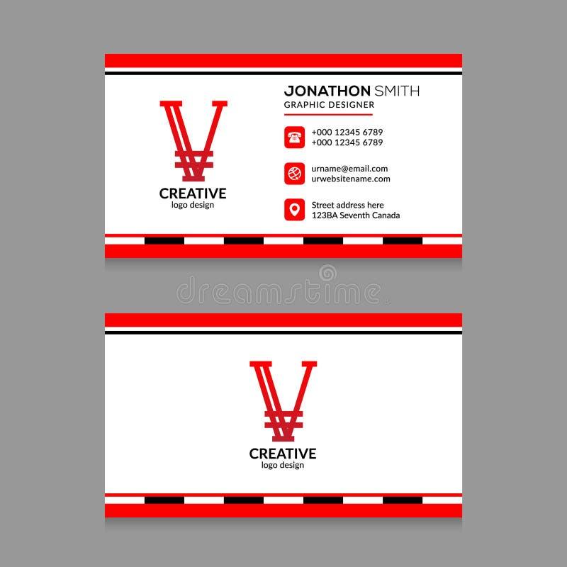 abstract v letter logo red color business card design template vector black 126832133