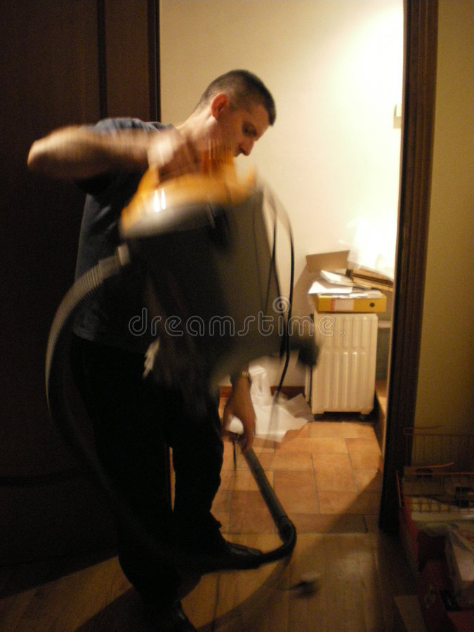 Abstract Vacumn Cleaning Man Stock Photo