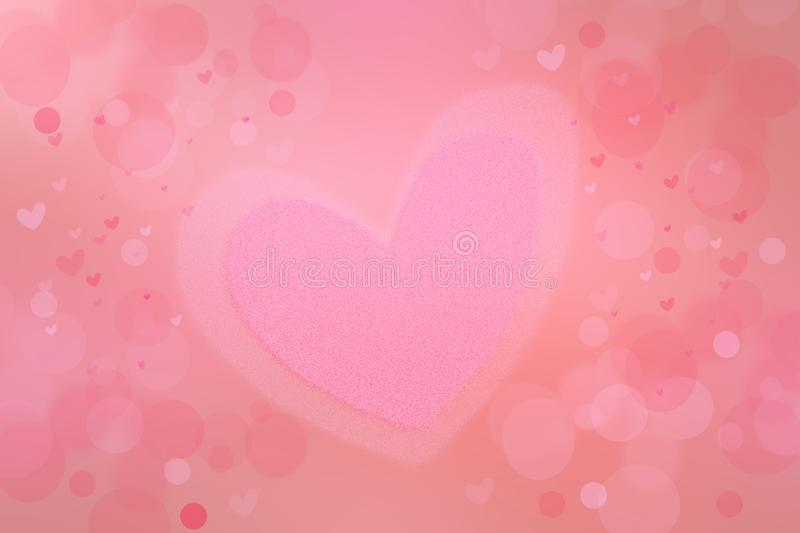 Abstract valentine background. Abtract festive blur pink bright pastel background with a large pink heart for valentine or wedding stock photo