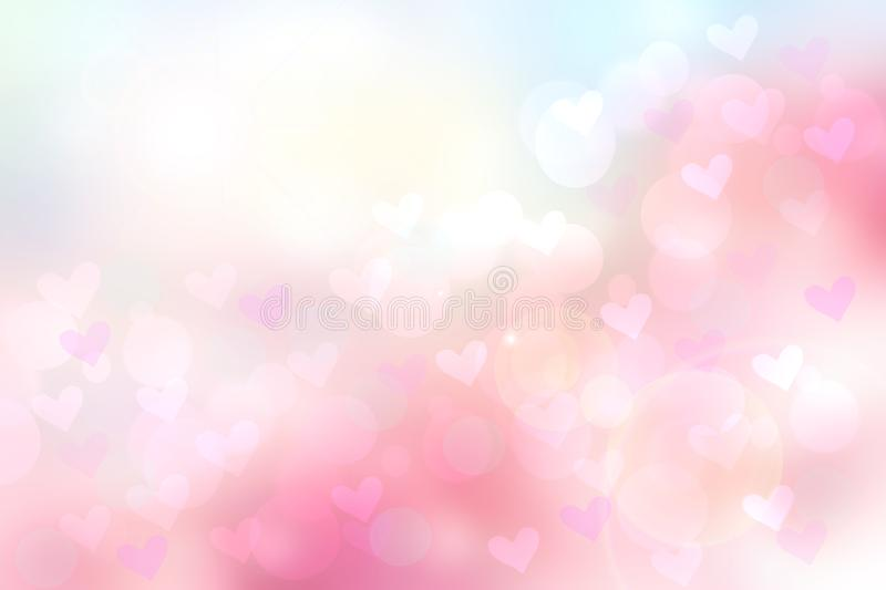 Abstract valentine background. Abtract festive blur pink pastel background with hearts for valentine or wedding. Romantic backdrop stock illustration