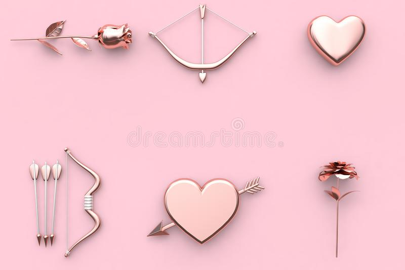 abstract valentine concept 3d render rose bow and arrow heart flower pink background vector illustration