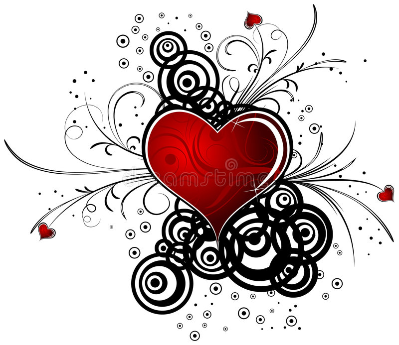 Abstract Valentine design with hearts, vector stock illustration