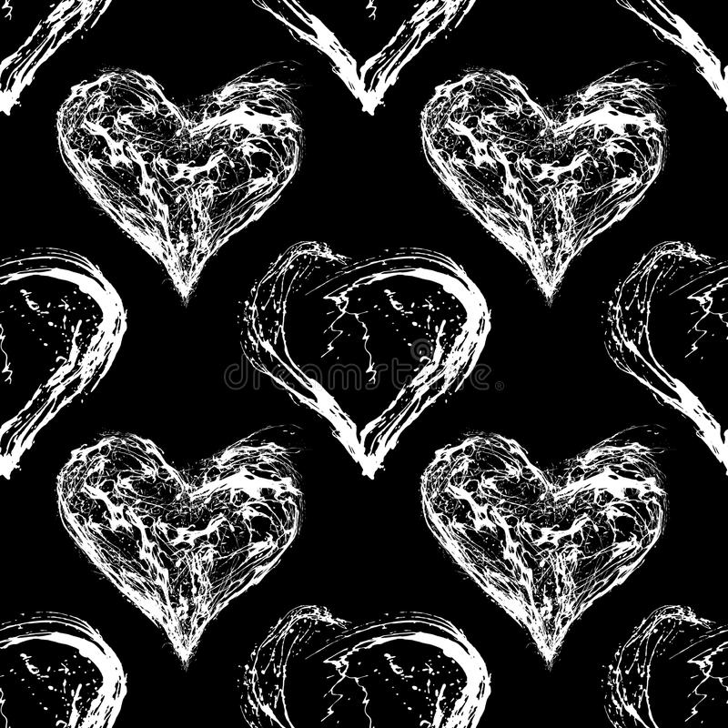 Abstract Valentine heart seamless pattern. Grunge splash draw paint vector illustration