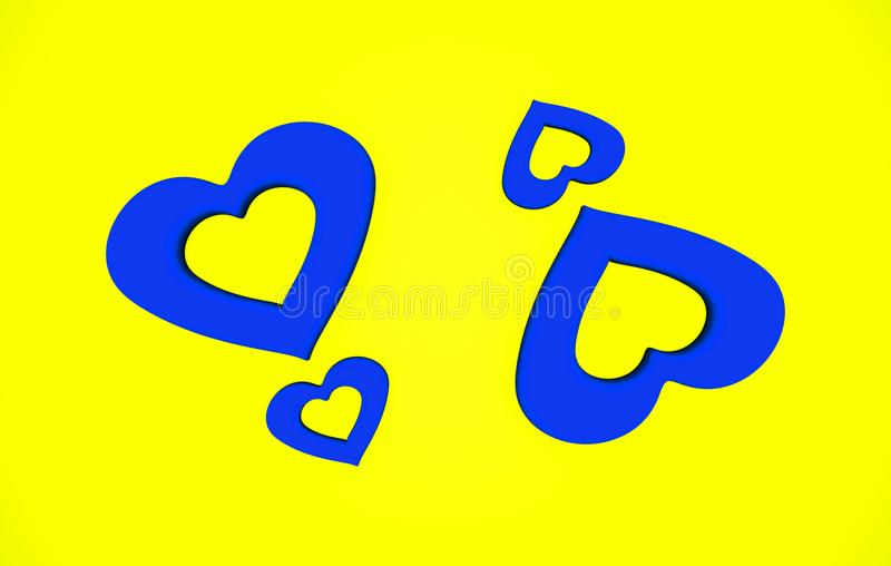 Abstract Valentine Heart Shape Blue And Yellow Pattern Background