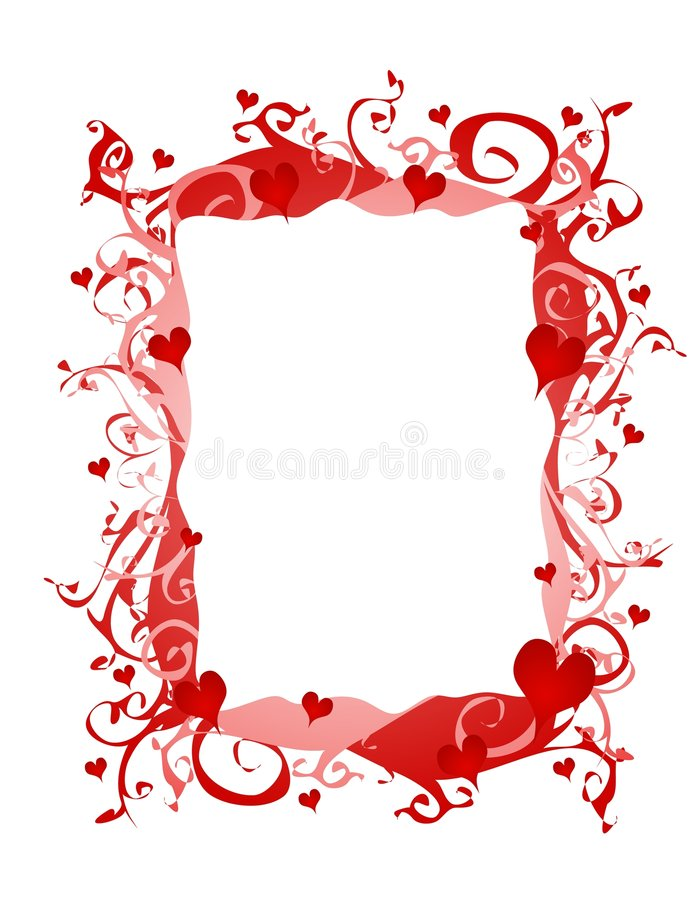 Abstract Valentine Hearts Frame or Border stock illustration