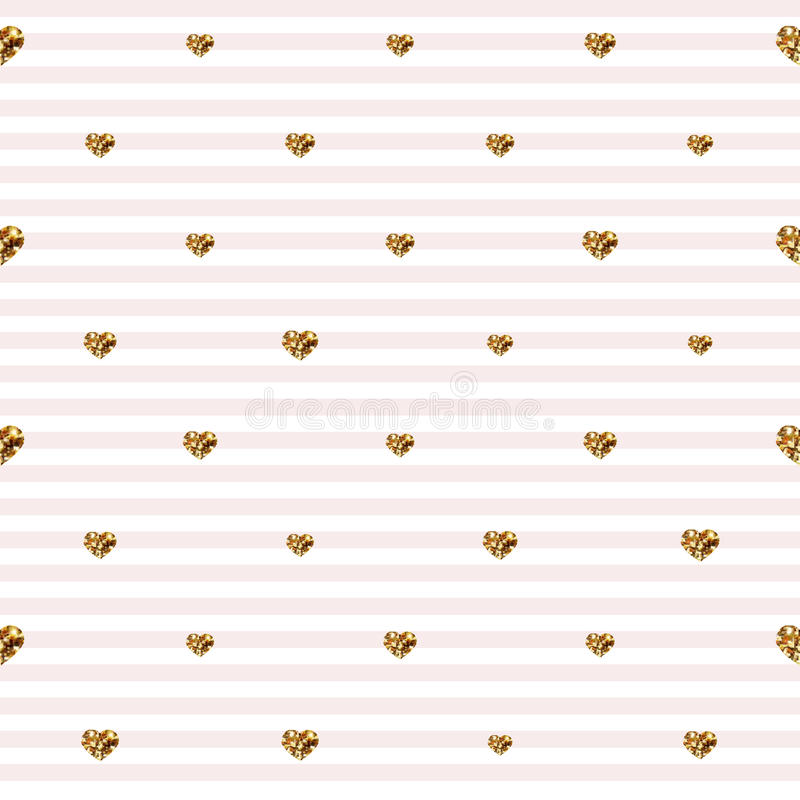 Abstract Valentine s Day hearts. Gold glittering hearts. Seamless stripped background stock illustration
