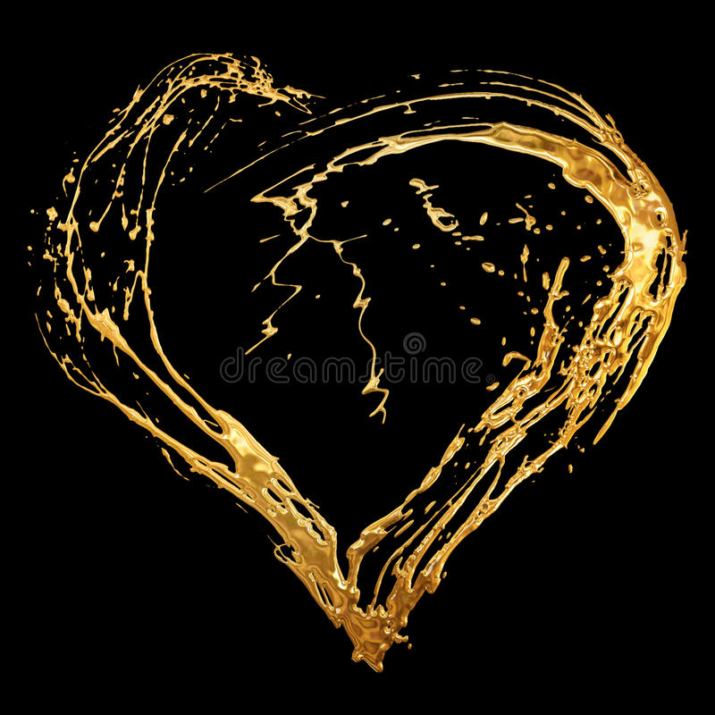 Abstract valentine's golden heart. Isolated on black background stock images