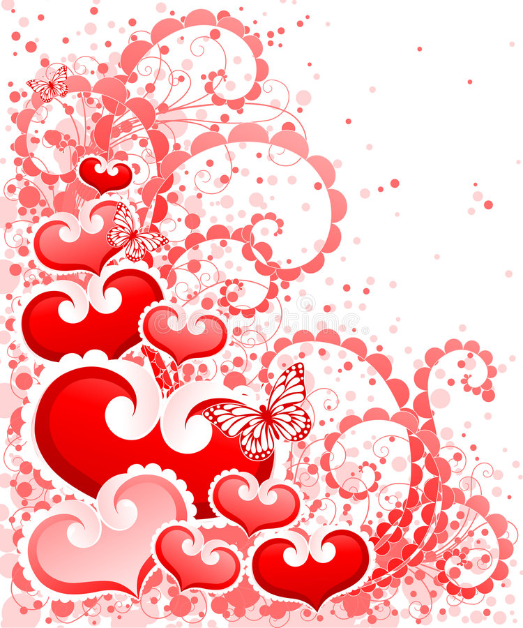 Abstract Valentines Day design with Hearts. stock illustration