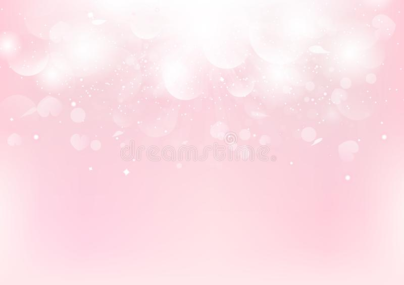 Abstract, Valentines day fantasy, pink blurry with scatter rose petal and heart, Bokeh romantic background seasonal holiday vector vector illustration