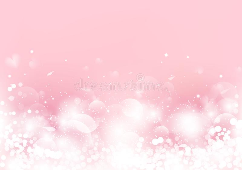 Abstract, Valentines day, pink blurry with scatter rose petal and heart, Bokeh blinking romantic background seasonal holiday. Vector illustration vector illustration