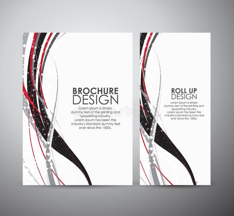 Abstract van de bedrijfs lijnen vectorbrochure ontwerpmalplaatje of broodje omhoog stock illustratie