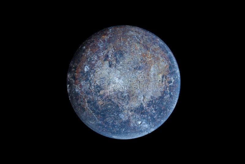 Abstract van de planeet aarde van het oppervlak van een oude rooster op een zwarte achtergrond in de ruimte royalty-vrije stock foto