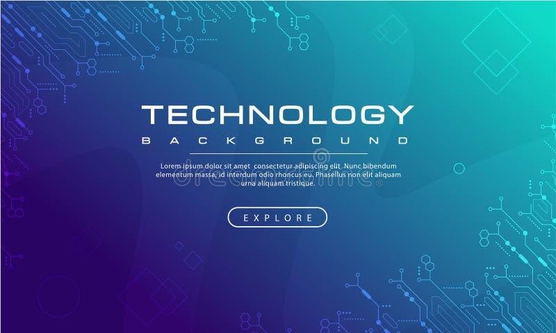 Abstract van de technologiebanner blauwgroen concept als achtergrond met de technologie van lijngevolgen, blauwe textuur als acht royalty-vrije illustratie