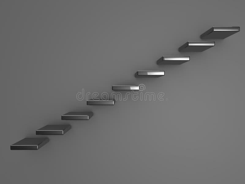 Abstract van metaaltreden of stappen concept op grijze muur vector illustratie