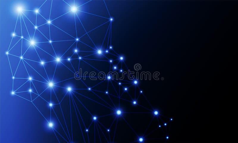 Abstract van van netwerkverbinding, punten en lijnen ontwerp, Geometrische abstracte achtergrond stock illustratie