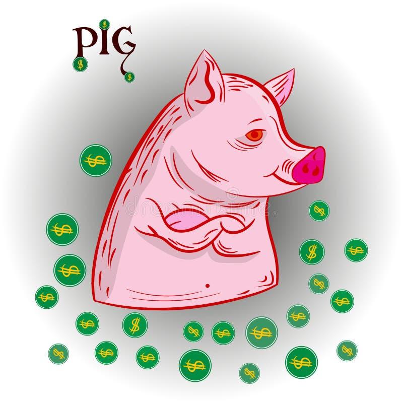 Abstract varken en rond de muntstuk-dollars, het symbool van het jaar vector illustratie