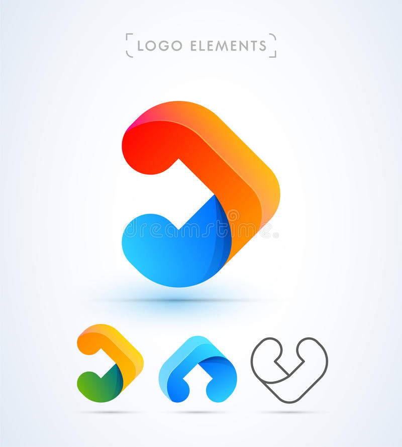 Abstract vector arrow, letter a or v logo. Material design style vector illustration