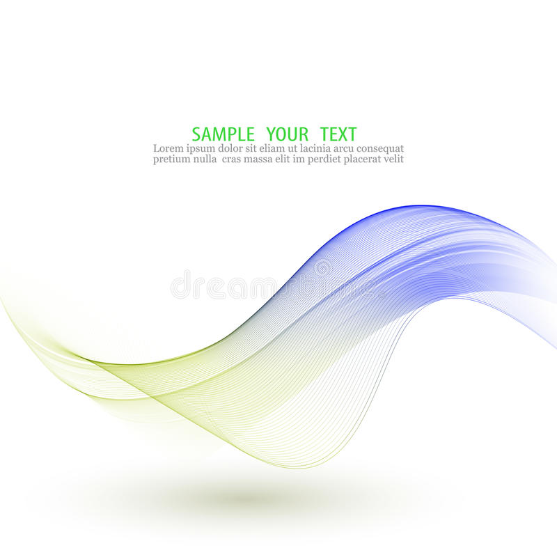 Abstract vector background, blue and green waved lines . Transparent smooth wave. stock illustration
