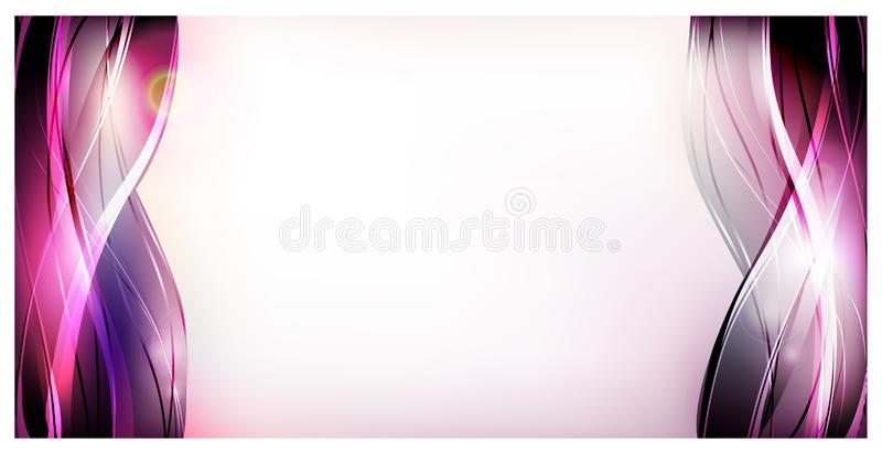 Abstract vector background. Bright curved waves for advertising. Glowing lines.  stock illustration
