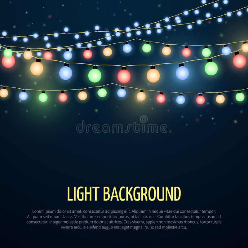 Abstract vector background with christmas garland lamp lights decoration stock illustration