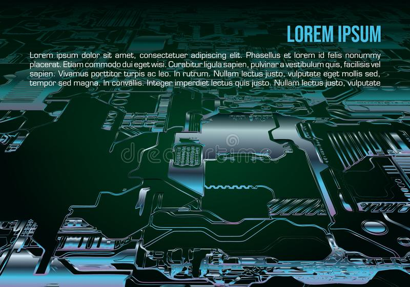Abstract vector background with circuit board in blue color. Computer hardware technology. Motherboard chip royalty free stock photo