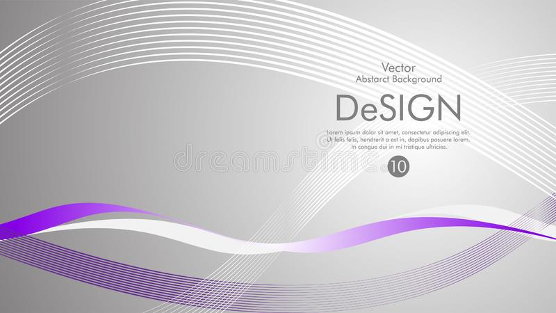 Abstract vector background, color flow waved lines . stock vector. Grey movement motion dynamic graphic design element white banner fractal backdrop creative vector illustration