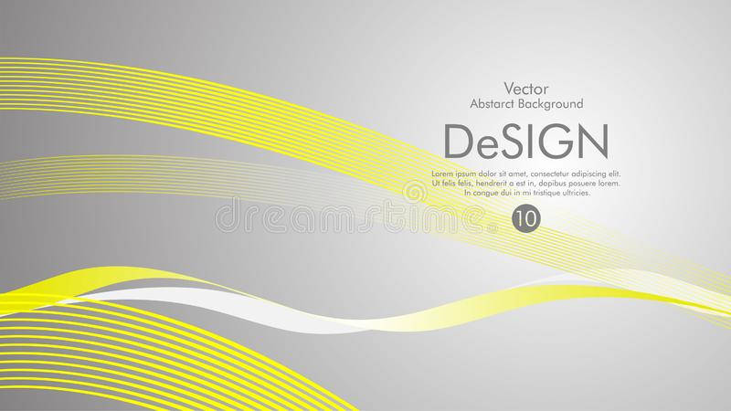 Abstract vector background, color flow waved lines . stock vector. Yellow grey movement motion dynamic graphic design element white banner fractal backdrop royalty free illustration