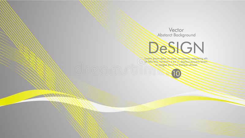 Abstract vector background, color flow waved lines . stock vector. Yellow grey movement motion dynamic graphic design element white banner fractal backdrop vector illustration