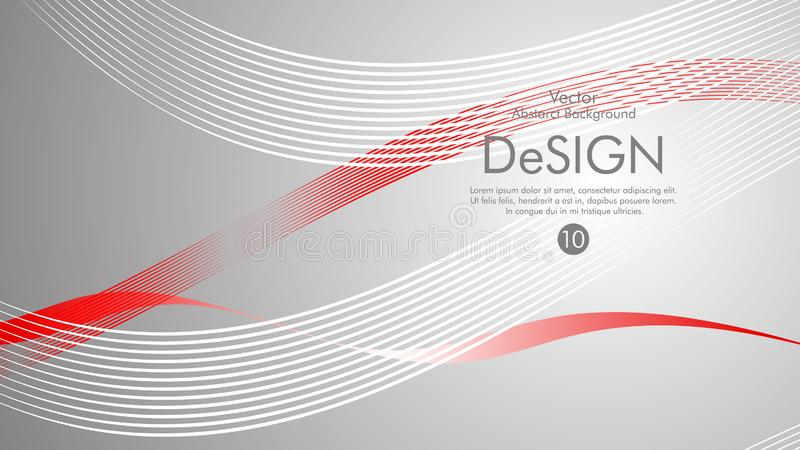 Abstract vector background, color flow waved lines . stock vector. Grey movement motion dynamic graphic design element white banner fractal backdrop creative royalty free illustration