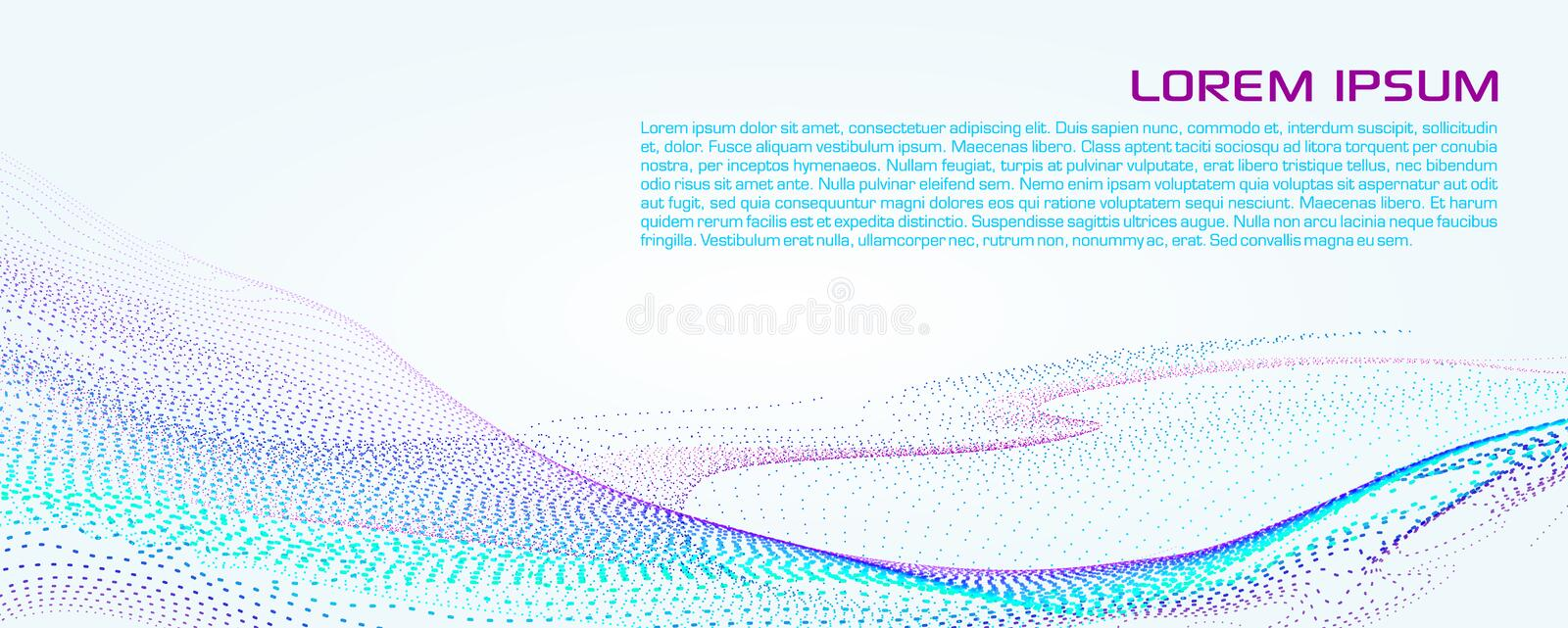 Abstract vector background with dotted particle designed to wave in blue color on white royalty free stock photos