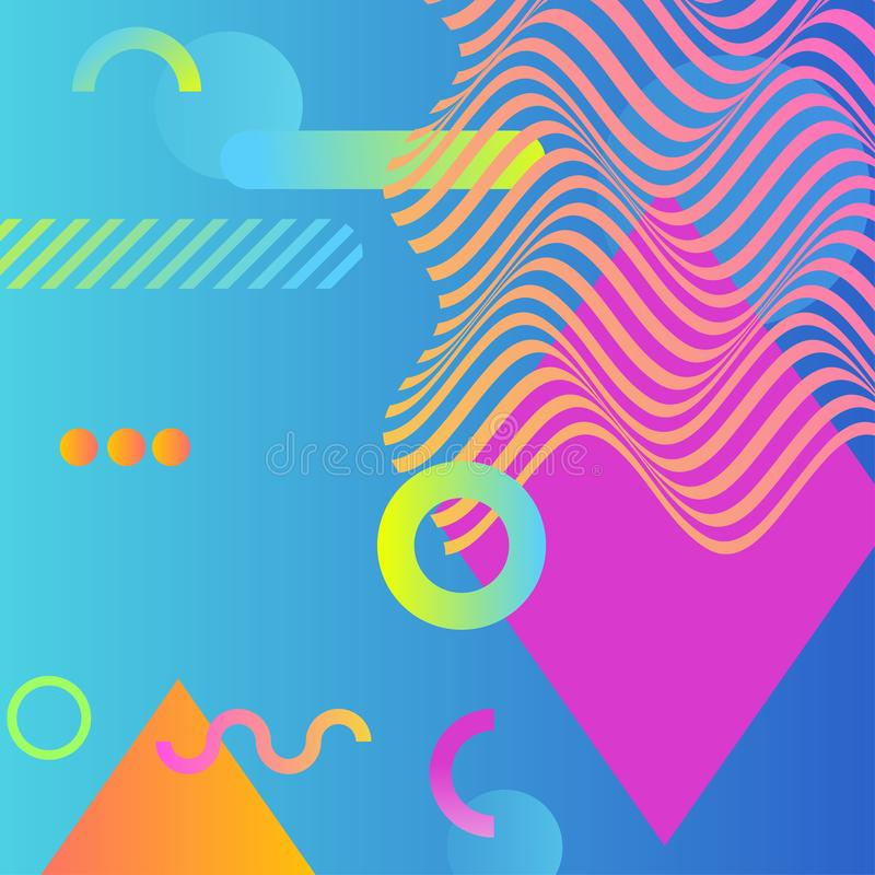 Abstract vector background with geometric shapes and waves. Gradient backdrop of bright colors of blue, pink, green and orange stock illustration
