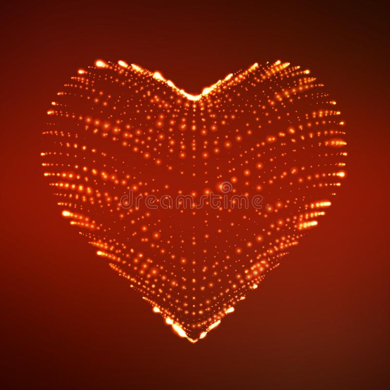 Abstract vector background with glowing heart. Cloud of red shining points in the shape of a heart. stock illustration
