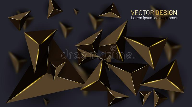 Abstract vector background with golden light and blurred shadow stock illustration