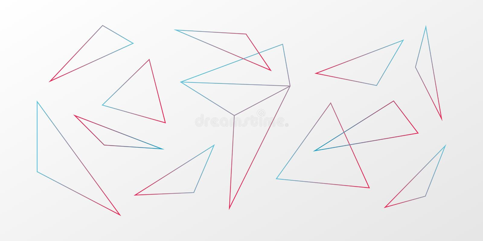 Abstract vector background. Gradient triangle geometric pattern. Blue red white ilustration for web, futuristic design stock illustration