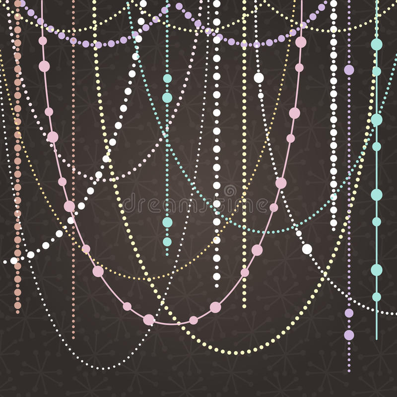 Abstract Vector Background with Hanging Garlands and Lights royalty free illustration