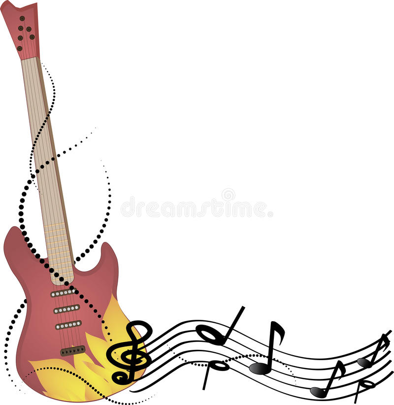abstract vector background music guitar and notes stock vector rh dreamstime com Music Notes Vector Art Free White Music Note Vector