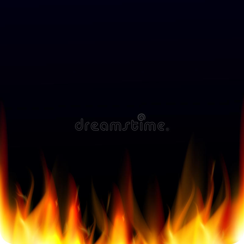 Abstract vector background with realistic fire flames effect. Hell background stock illustration