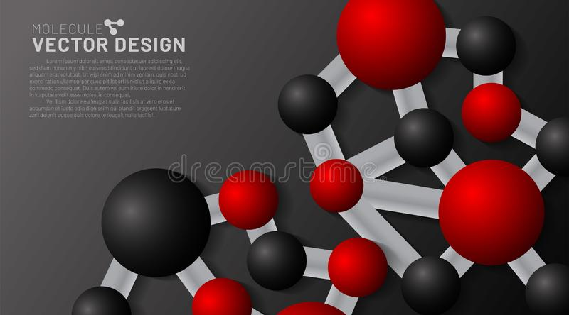 Abstract vector background. red and black molecules with shadows on a dark background. 3D illustration of circle connected in EPS stock illustration