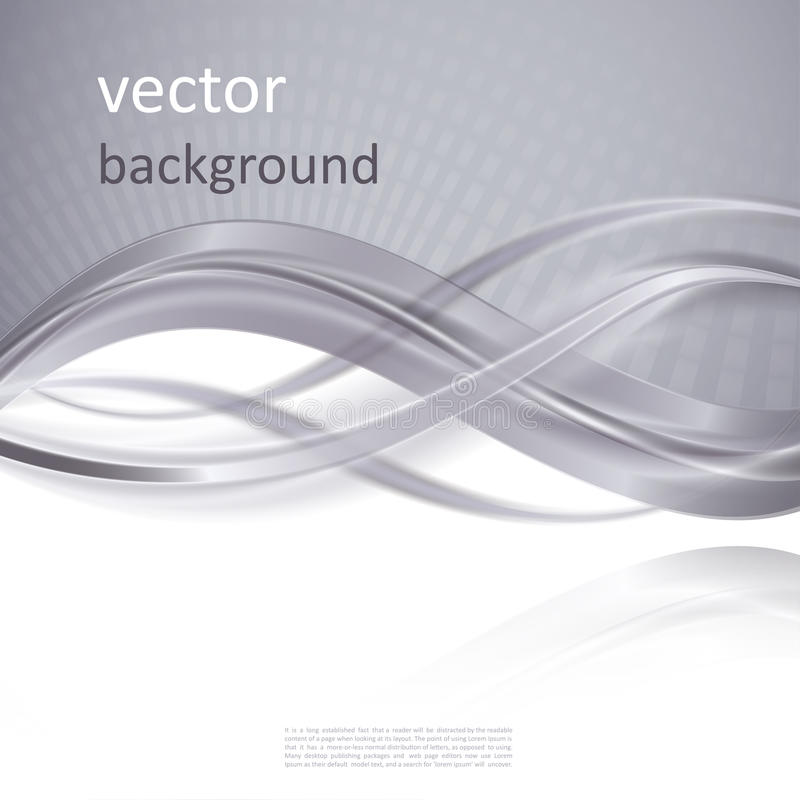 Abstract vector background. With smooth shiny grey, gray waves and halftone stock illustration