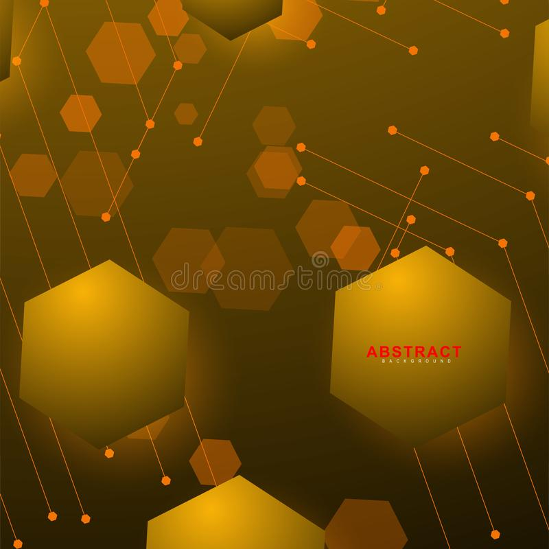 Abstract vector background. Surface polygon pattern with hexagon shadows, honeycomb. design technology royalty free illustration