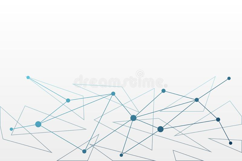 Abstract vector background. Triangle network pattern. White blue illustration for technology, science, connection, neural royalty free illustration