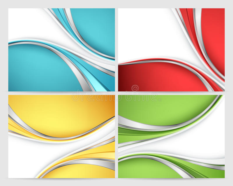 Abstract vector backgrounds set. With colorful lines. Eps10 royalty free illustration