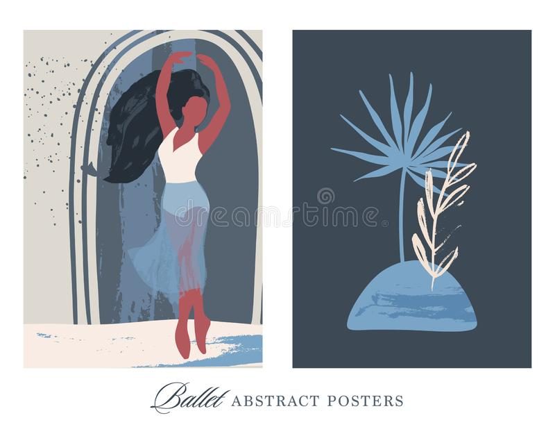 Abstract vector. Ballet dancer girl poster. royalty free stock photography