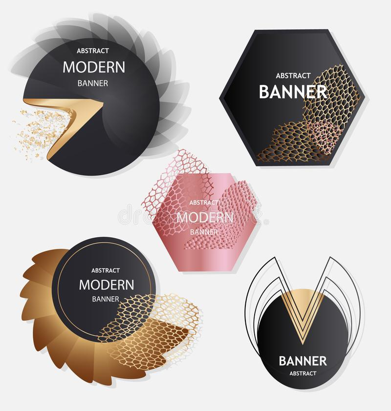 Abstract vector banner collection with metallic effects. Luxury vector banner collection with metallic effects vector illustration
